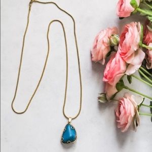 Turquoise long chain necklace